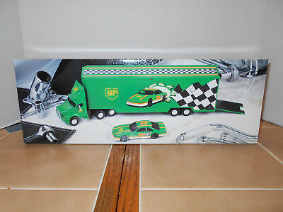 BP Oil 1995 IHC race car hauler with race car,1:36 scale ,MIB,stock # BP-95-5