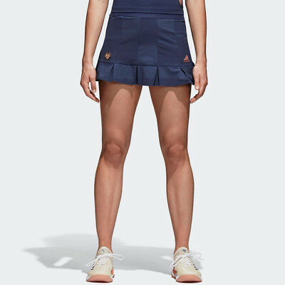adidas Womens Roland Garros Tennis Skirt Navy Blue Sports Breathable Lightweight