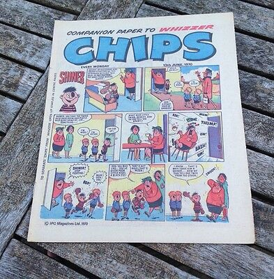 VINTAGE CHIPS COMIC (Part of Whizzer) 13/6/1970 features Matchbox/ Lesney Ad