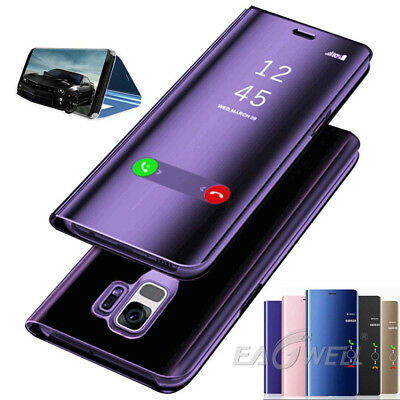 Luxury Touch Mirror Clear View Flip Stand Leather Case Cover For Samsung Phones