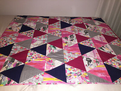 HANDMADE PATCH WORK QUILT - LAURA BLYTHMAN & PLAIN MATERIAL - NEW- one of a kind