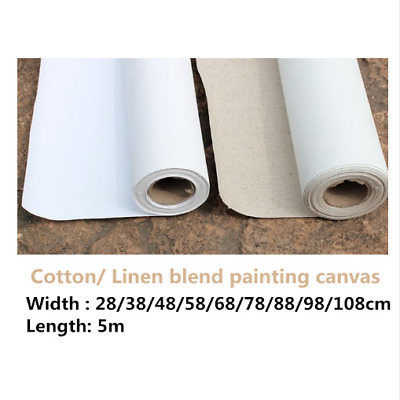 Primed Canvas Roll 5m Blank Oil Painting Cotton Linen Blend High Quality Artist