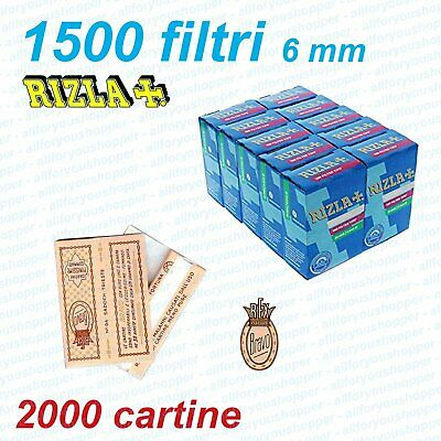 1500 FILTRI RIZLA SLIM 6 mm + 2000 CORTE REGULAR FINISSIME CARTINE BRAVO REX