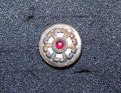 """Small Antique Button ~ Ornate Brass with TINY Paste STONE Gem 9/16"""""""