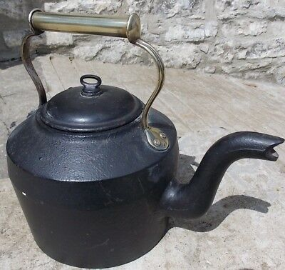Antique Victorian Gypsy CAST IRON KETTLE No. 3 CWS Dudley 6 pint brass handle