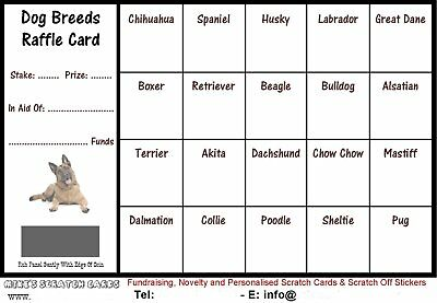 10-100 Dog Breed Fundraising Raffle Cards, Scratch Cards, Size A6