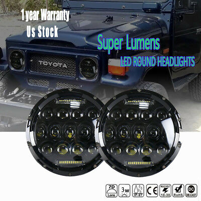 """2pcs 75W 7""""inch Round Led Headlights with White DRL Hi/Lo Beam For Chevy Blazer"""