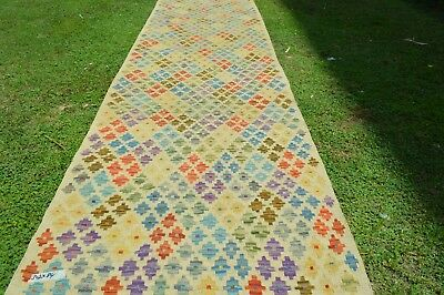 FREE SHIPPING 2'7 x 9'9 FT Beautiful Geometric Pattern Natural Dye Hall way Rug