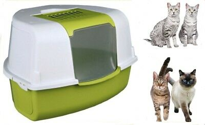 X Large Compact Corner Cat Kitten Enclosed Litter Tray Toilet Potty Loo Box
