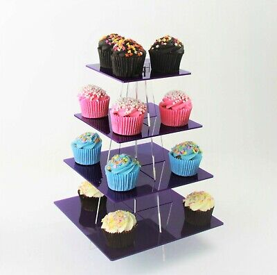 4 Tier Small Square Acrylic Cupcake Stand in 57 Colours - Baking Party Birthday