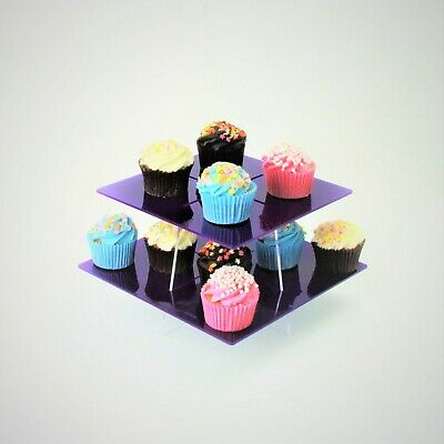 2 Tier Large Square Acrylic Cupcake Stand in 57 Colours - Baking Party Birthday