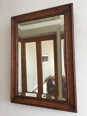 Vintage Oak Bevelled Edge Wall Mirror Rectangular Heavy 54x38cm