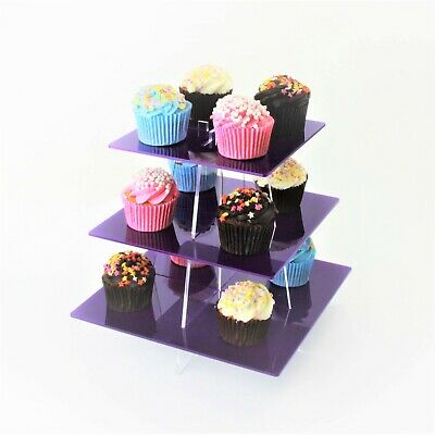 3 Tier Large Square Acrylic Cupcake Stand in 57 Colours - Baking Party Birthday