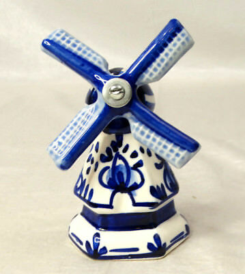 """5"""" Windmill Bell Ceramic Porcelain Blue White Windmill Spins Manually"""