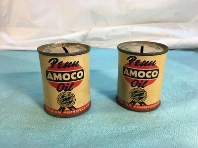 VTG 1950s PENN AMOCO OIL Save With Permalube Mini Oil Can Advertising Bank Lot 2