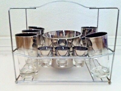 Vintage Mid Century Barware glass ice bucket caddie ombre shot cocktail SWANKY!