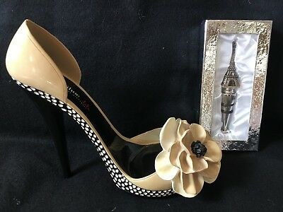 LaLa by Gift Craft High Heel Shoe Wine Holder and Eiffel Tower Wine Stopper