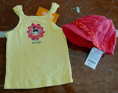 GYMBOREE Red Polka Dot Bow SUN HAT w/ YELLOW flower girl TEE Top 12-18M NWT $30