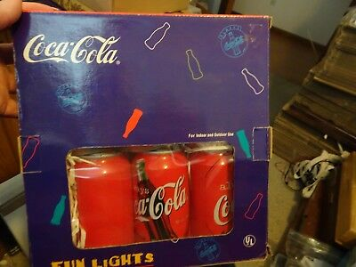 Coca-Cola Fun Indoor/Outdoor Can Sized Lights New in Box, 12 Foot String 10 Cans