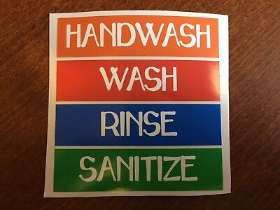 Hand Wash ,Wash, Rinse, and Sanitize Sink Labels for 3 4 Compartment Sinks