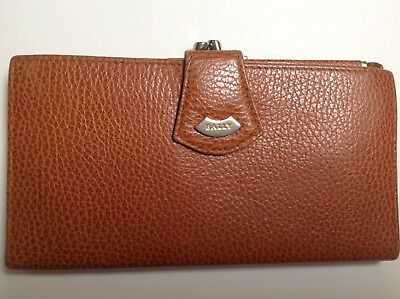 BALLY Tan Leather Purse Wallet, Clasped Coin Compartment, Card, Zip