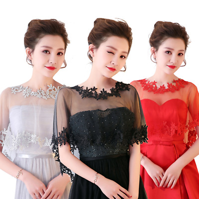 Women Bridal Sheer Mesh Embroidery Lace Asymmetric Shawl Cape Wedding Prom Party