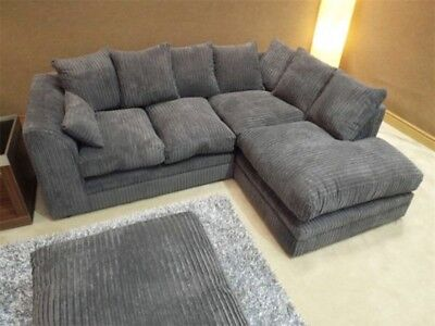 Brand New Jumbo Cord Fabric Corner Sofa Settee Couch Or 3 And 2 Seater Grey