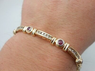 Gorgeous Heavy 14k Solid Yellow Gold Diamond & Natural Red Ruby Tennis Bracelet