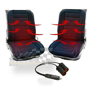 Pair of 12v Car Heating Heated Seats Cover Cushion with Thermostat Twin Adapter