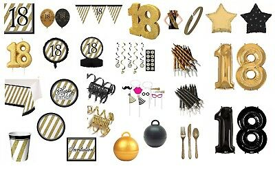 AGE 18 BLACK & GOLD HAPPY BIRTHDAY PARTY DECORATIONS 18TH TABLEWARE (cp)
