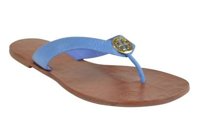 c1bbe902b8c7d New Womens Tory Burch Thora Thong Flat Tumbled Leather Chambray Gold Sandals