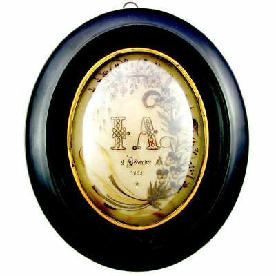 Large Antique French Mourning Hair Art Memento Convex Glass Framed