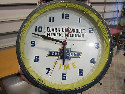 Vintage Original 1948 Clark Chevrolet Neon Dealer Advertising Clock Sign