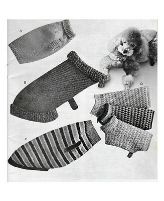 Vintage Knitting Pattern Copy - To Knit 4 Types Of Dog Coats In 3 Sizes