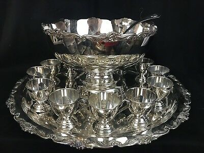 STUNNING Silver Plate Punch Bowl, Ladle and  13 Cups Rose Design BEAUTIFUL!!