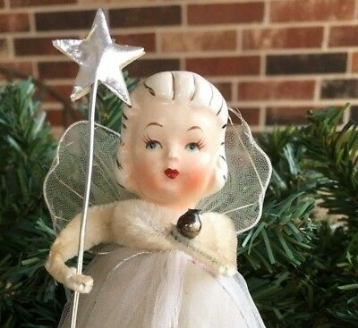 "Replacement Silver Foil Star on Metal Wand, Fits 5-9"" Tall Vintage Angel Figure"