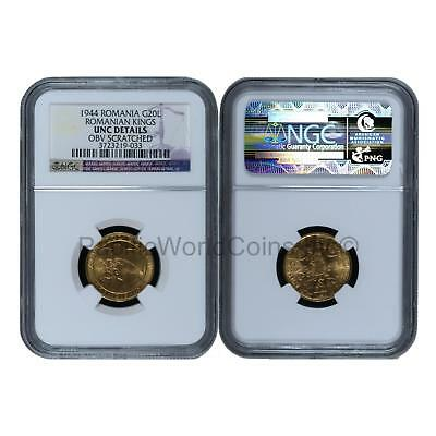 Romania 1944 Romanian Kings 20 Lei Gold NGC UNC Details Obv Scratched SKU# 6359