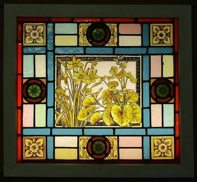 "OLD ENGLISH LEADED STAINED GLASS WINDOW Victorian HP Floral 21.75"" x 20"""