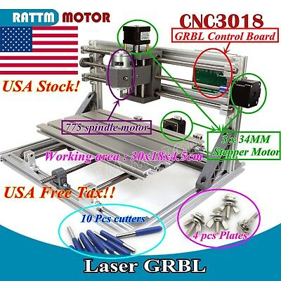 【US Stock】3 Axis USB 3018 GRBL Control mini DIY CNC Router Milling Laser Machine