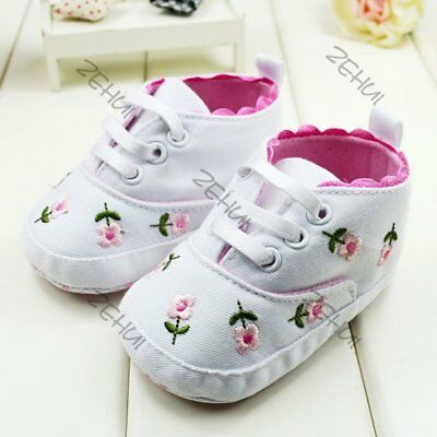 Infant Walking Crib Shoes Newborn Baby Girls Floral Soft Sole Sneaker 0-12M US