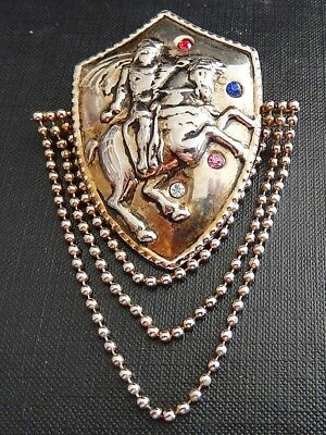 Vintage Gold-Tone Large Shield With Dangling Chains Brooch