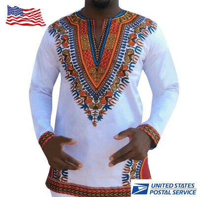 Fashion Mens Dashiki Printed African Long Sleeve Tops Tribal Hippie T-shirt Tops