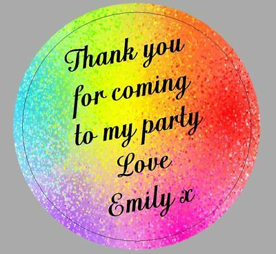 24 x 40mm Personalised Stickers Round Rainbow Colours Party Thank you Labels