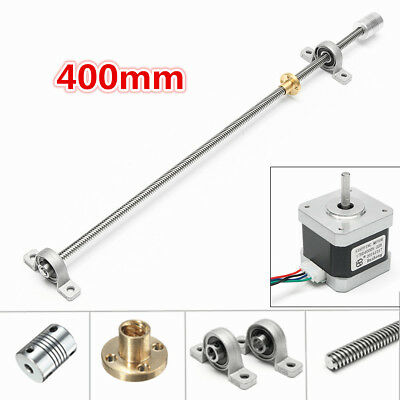 T8 400mm Stainless Steel 3D Printer CNC Mill Router Lead Screw w/ Stepper Motor