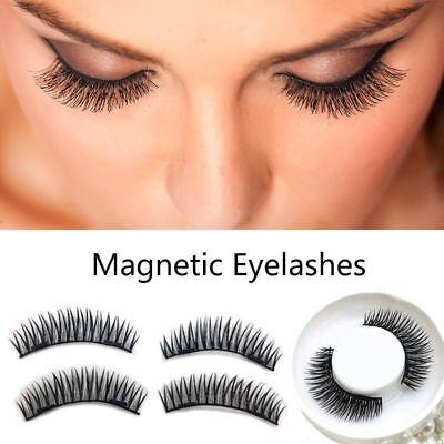 2Pair Dual Magnetic False Eye lashes 3D Ultra Thin Natural Reusable Eyelashes Ca