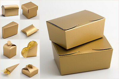 Gold Silk Wedding Party Favour Gift Boxes - Pack of 10