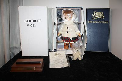 """1997 Precious Moments Wood Hand Carved Doll """"Gertrude"""" #982/1000 RARE Musical"""
