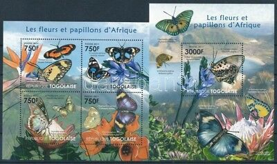 Togo stamp Flowers and butterflies minisheet + block MNH 2011 WS252688
