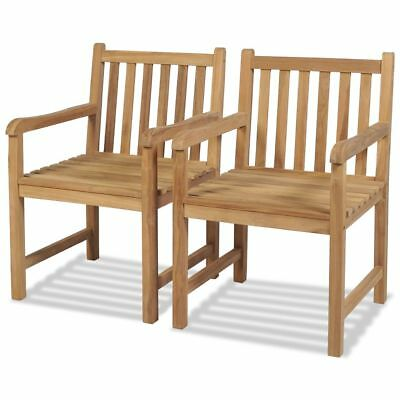 vidaxl teak 2x gartenst hle mit armlehne essstuhl holzstuhl gartensessel stuhl eur 97 99. Black Bedroom Furniture Sets. Home Design Ideas
