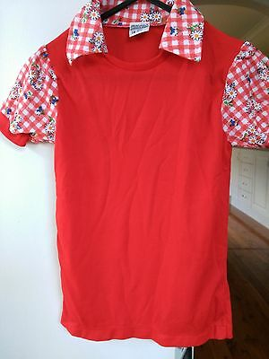 Vintage Girl's Red Short Sleeve Top Floral & Check Design on Collar & Sleeve